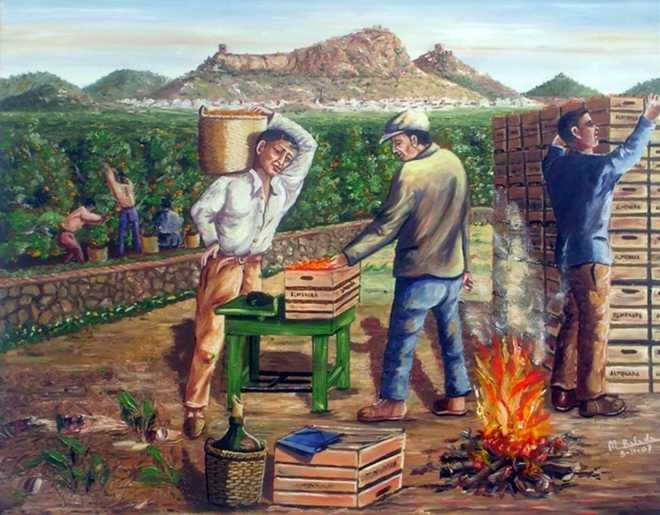 Quadre que he descobert a Internet. Collidors de taronja a La Vall de Segó. Al fons és pot vore Almenara. Desconec l'autor.